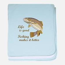 FISHING IS BETTER baby blanket