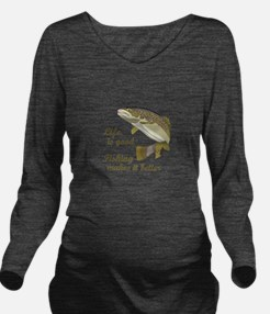 FISHING IS BETTER Long Sleeve Maternity T-Shirt