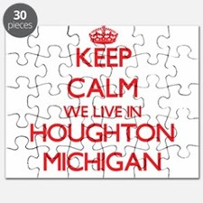 Keep calm we live in Houghton Michigan Puzzle