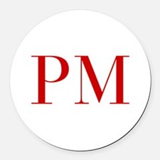 PM-bod red2 Round Car Magnet