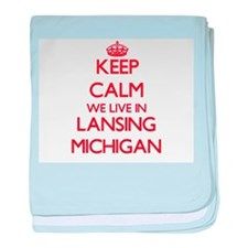 Keep calm we live in Lansing Michigan baby blanket
