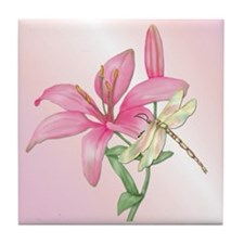 Lily Dragonfly Tile Coaster