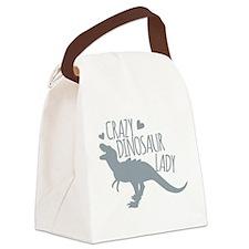 Crazy Dinosaur Lady Canvas Lunch Bag