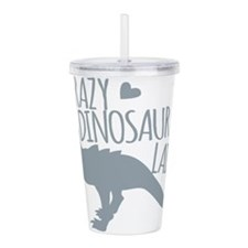 Crazy Dinosaur Lady Acrylic Double-wall Tumbler