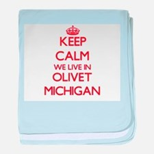 Keep calm we live in Olivet Michigan baby blanket
