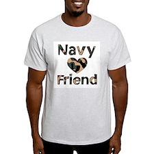 Navy Friend Heart Camo T-Shirt