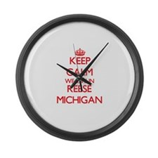 Keep calm we live in Reese Michig Large Wall Clock