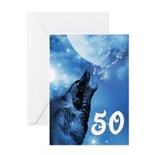 50th birthday, ghost wolf howling Greeting Cards