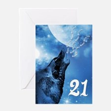21st birthday, ghost wolf howling Greeting Cards