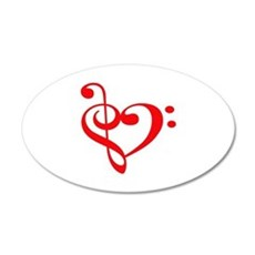 TREBLE MUSIC HEART Wall Decal