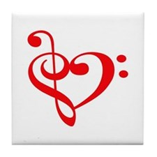 TREBLE MUSIC HEART Tile Coaster