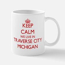 Keep calm we live in Traverse City Michigan Mugs