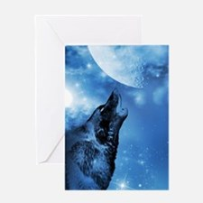 Ghost wolf howling blank note card Greeting Cards