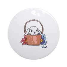 SPRING BUNNY IN BASKET Ornament (Round)