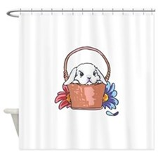 SPRING BUNNY IN BASKET Shower Curtain