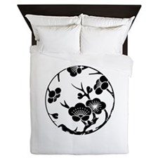 Plum branch circle Queen Duvet