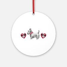 SCOTTIE PLAID HEARTS Ornament (Round)