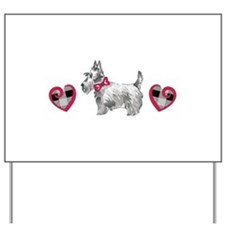 SCOTTIE PLAID HEARTS Yard Sign