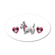 SCOTTIE PLAID HEARTS Wall Decal