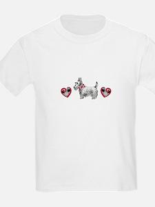 SCOTTIE PLAID HEARTS T-Shirt