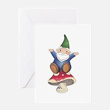 GNOME ON MUSHROOM Greeting Cards