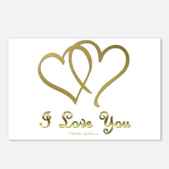 Entwined Gold Hearts Postcards (Package of 8)