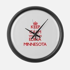 Keep calm we live in Edina Minnes Large Wall Clock