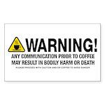 Coffee Warning Sticker