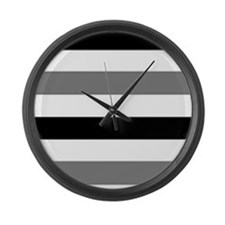 black gray stripes Large Wall Clock