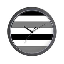 black gray stripes Wall Clock