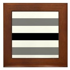 black gray stripes Framed Tile