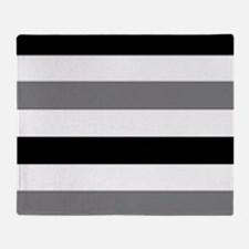 black gray stripes Throw Blanket