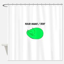 Custom Green Cat Shower Curtain