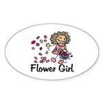Cartoon Flower Girl Oval Sticker