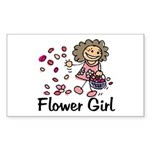 Cartoon Flower Girl Rectangle Sticker