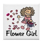 Cartoon Flower Girl Tile Coaster