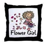 Cartoon Flower Girl Throw Pillow