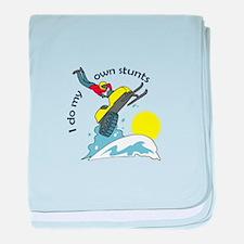I DO MY OWN STUNTS baby blanket