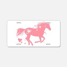 Pink Galloping Heart Horse Aluminum License Plate
