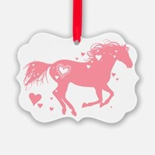 Pink Galloping Heart Horse Ornament