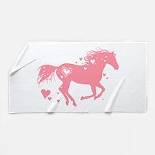 Pink Galloping Heart Horse Beach Towel