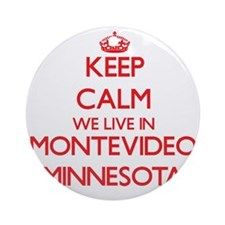 Keep calm we live in Montevideo M Ornament (Round)