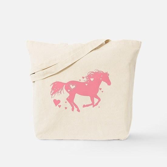 Pink Galloping Heart Horse Tote Bag
