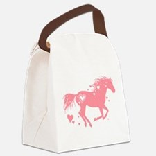 Pink Galloping Heart Horse Canvas Lunch Bag
