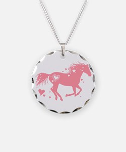 Pink Galloping Heart Horse Necklace