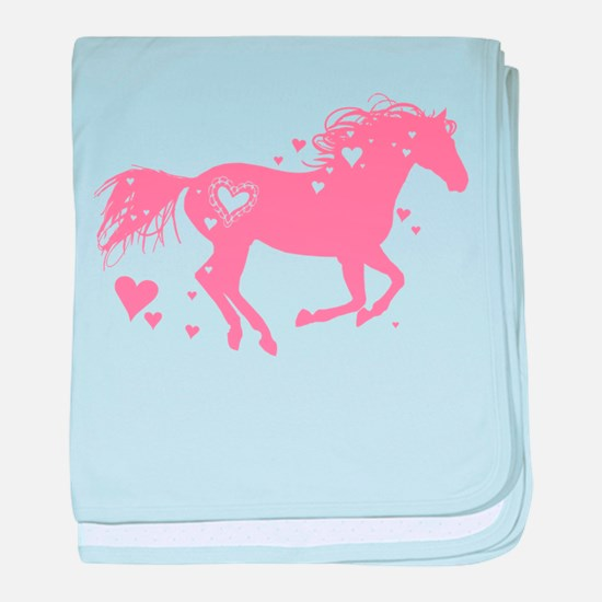 Pink Galloping Heart Horse baby blanket