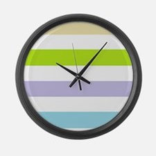 Spring Striped Large Wall Clock