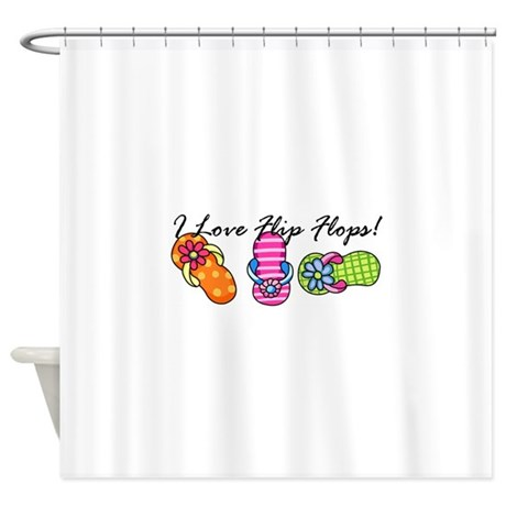 I Love Flip Flops Shower Curtain  Flip Flop Shower Curtain