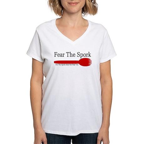 Fear The Spork Women's V-Neck T-Shirt