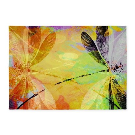 Colorful Dragonfly Reflection 5u0027x7u0027Area Rug